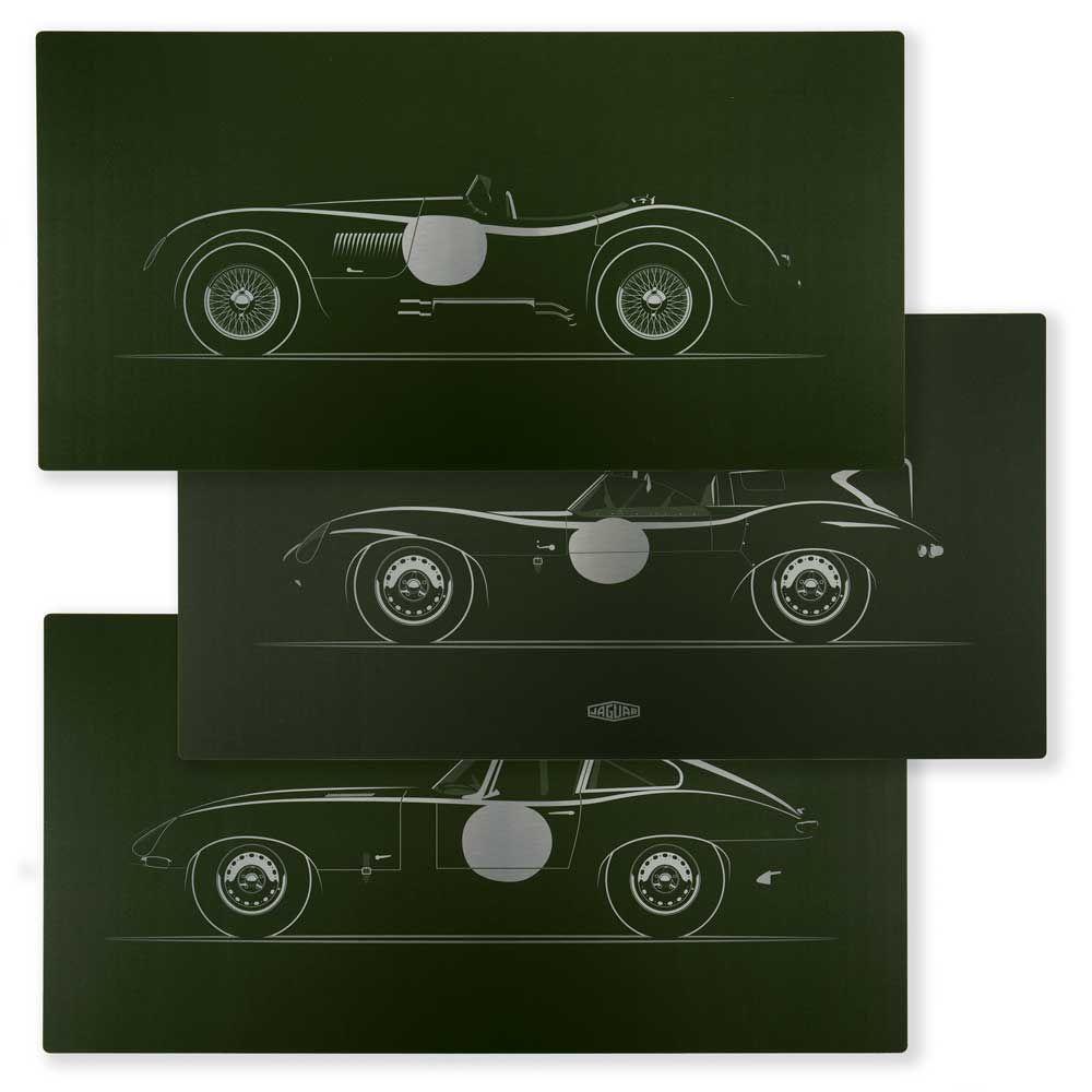 Limited Edition Jaguar C, D and E-type Artwork on Aluminium - Set of Three